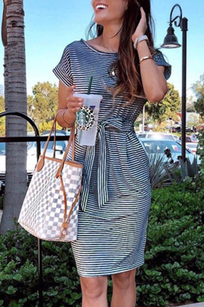 Chicindress Striped Knot Design Grey Midi Dress