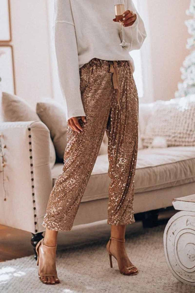 Chicindress Loose Ruffled Sequined Pants