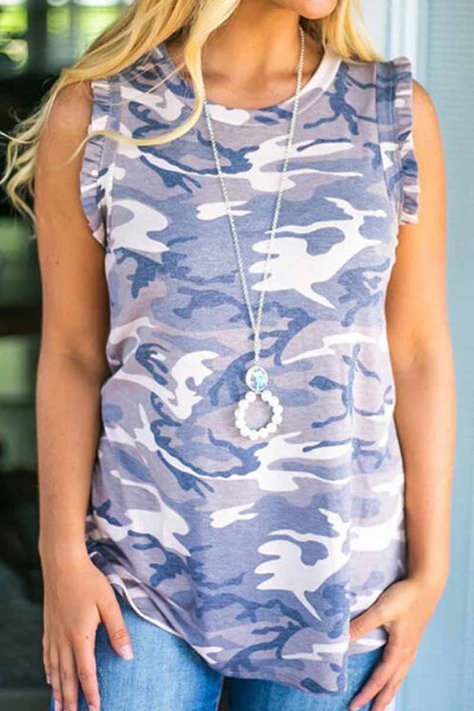 Chicindress Loose Ruffled Camouflage T-Shirt
