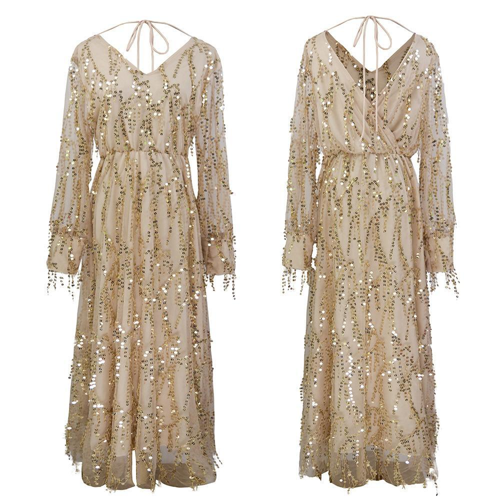 Chicindress Fringed Sequin Reversible Dress