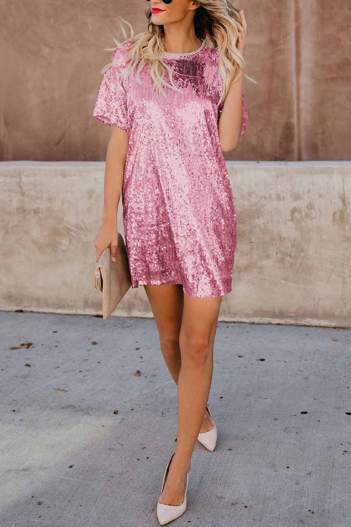 Chicindress Short Sleeve Sequin Dress
