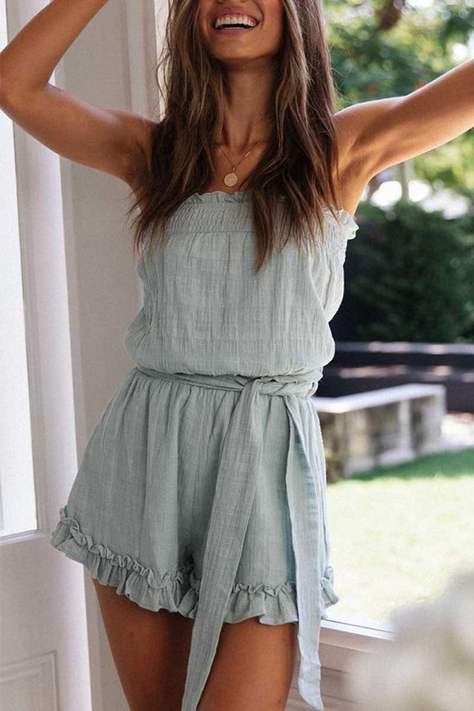 Chicindress Ruffled Cotton Romper(2 colors)
