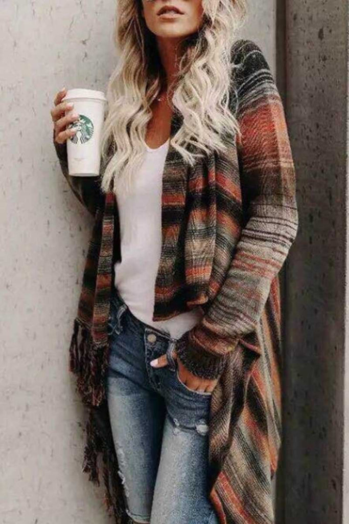 Chicindress Striped Shawl Sweater 2 Styles