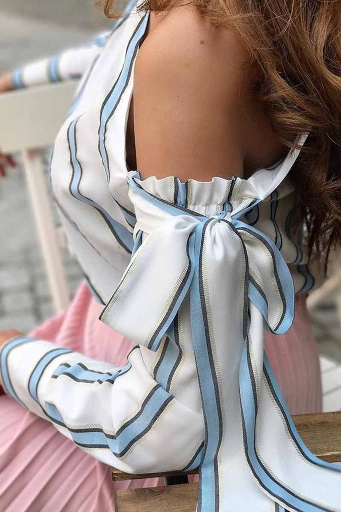 Chicindress Slanted Shoulder Striped Top