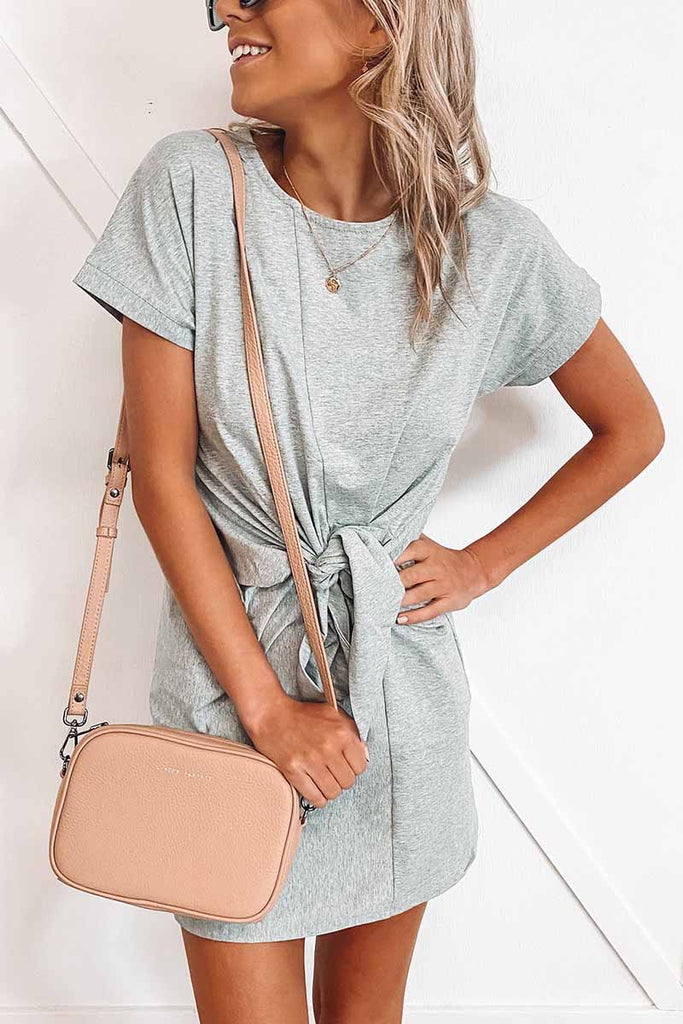 Chicindress Loose Tie Solid Color Short Sleeves Mini Dress