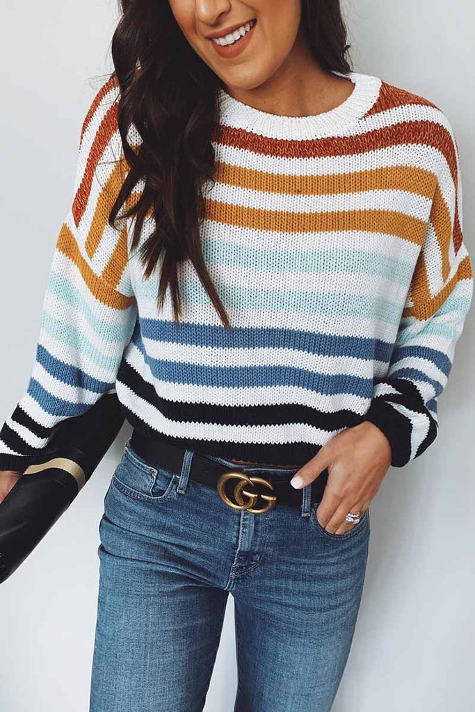Chicindress Loose O Neck Striped Sweater