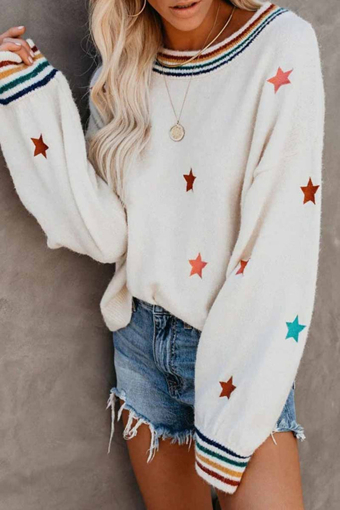 Chicindress Fashion Loose Star Print Sweater