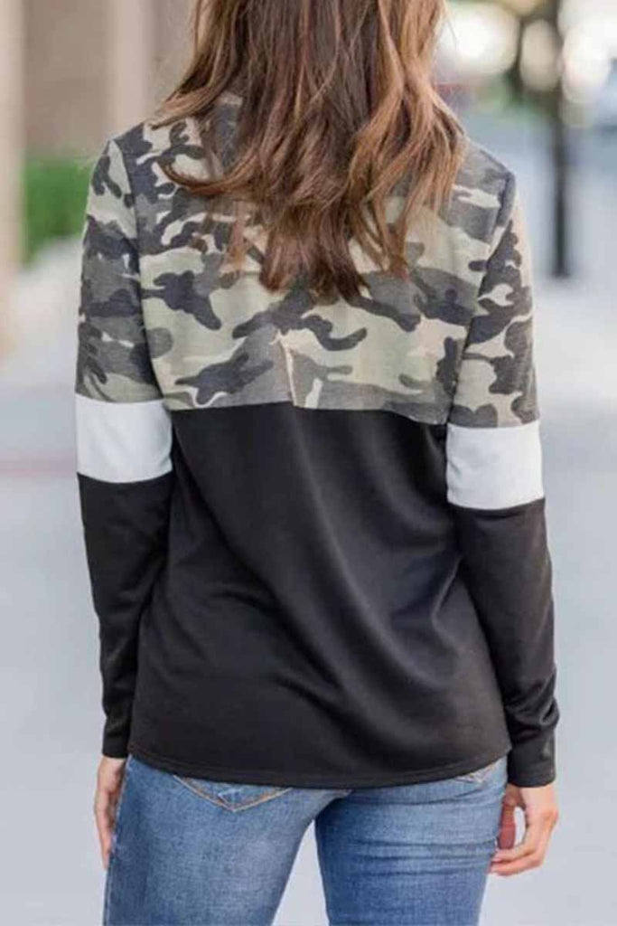 Chicindress Camouflage Print Zipper Top