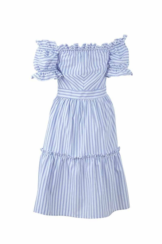 Chicindress Off Shoulder Midi Striped Dress