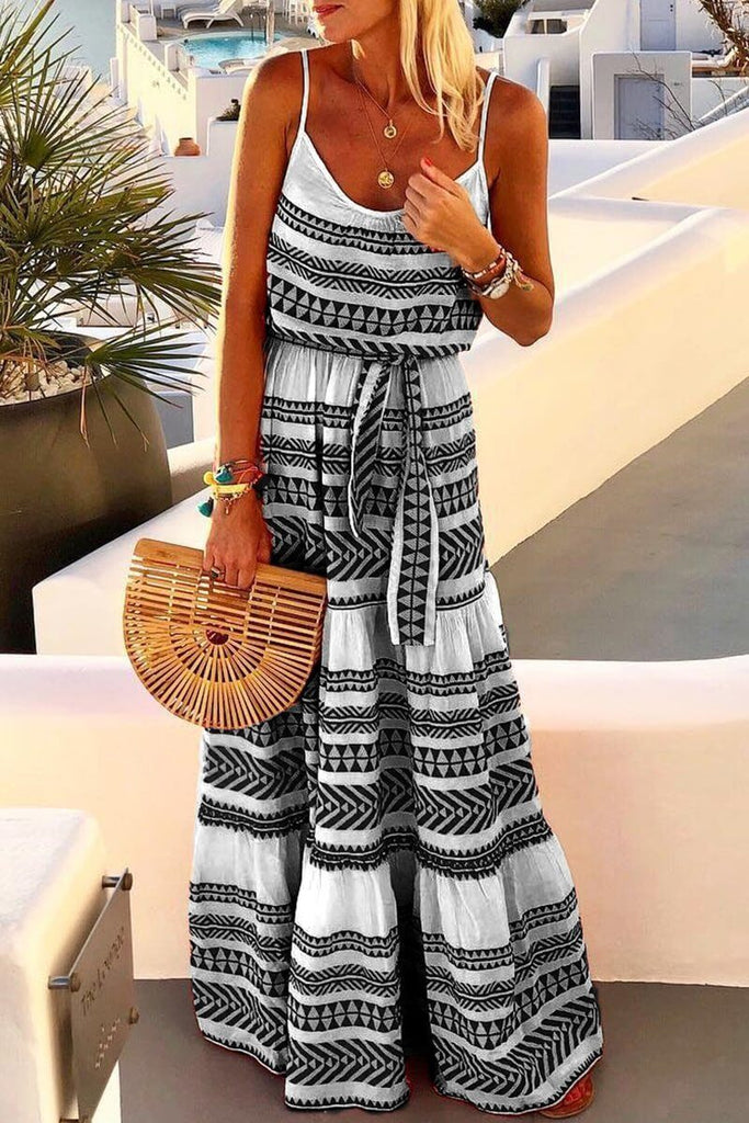 Chicindress Geometric Printed Loose Ankle Length Dress