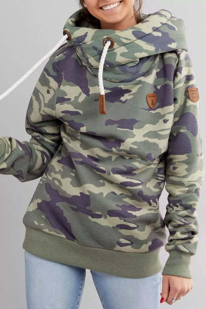 Chicindress Camouflage Loose Hooded Sweatshirt Tops