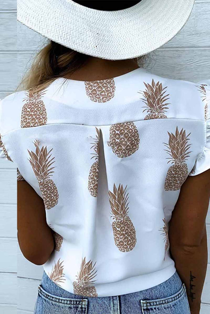 Chicindress Summer Pineapple Cactus Print V-Neck Lotus Sleeve Shirt