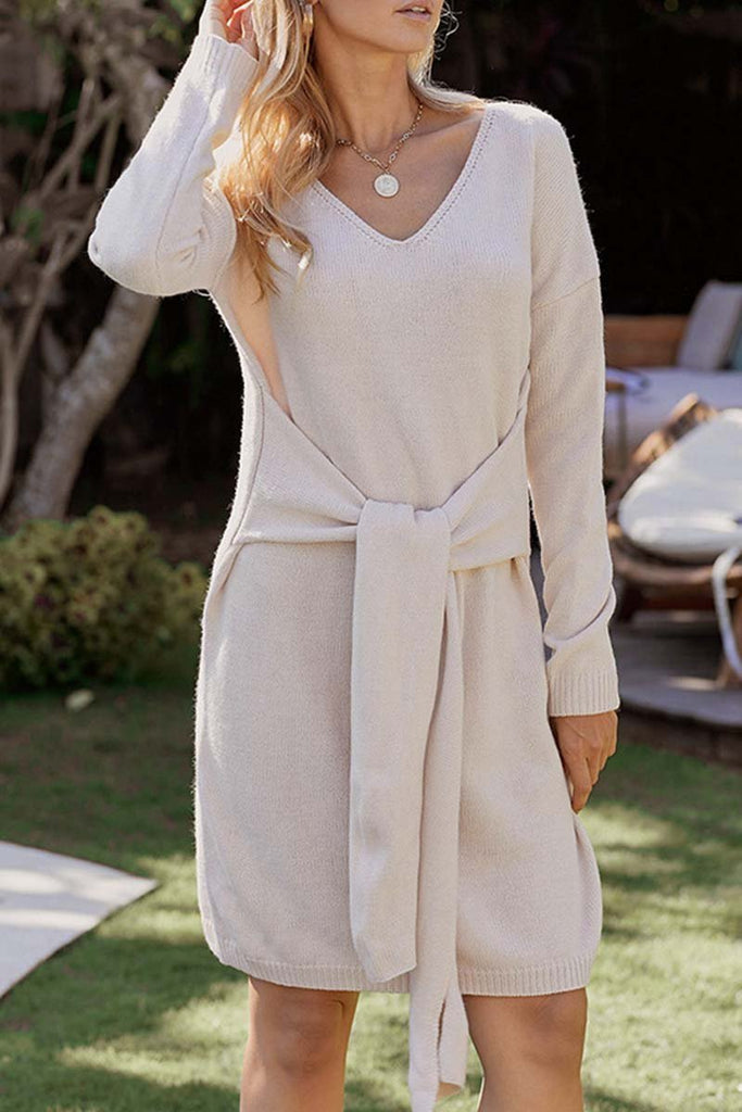 Chicindress Casual Sweater with Half Belt