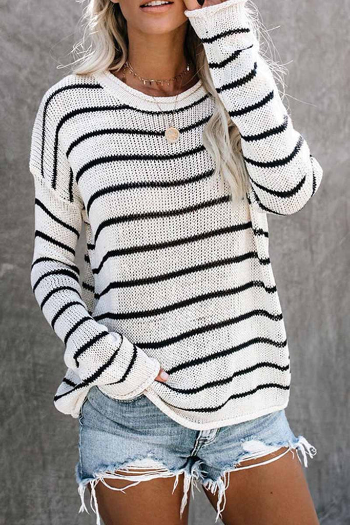 Chicindress Loose grid Round Neck Sweater