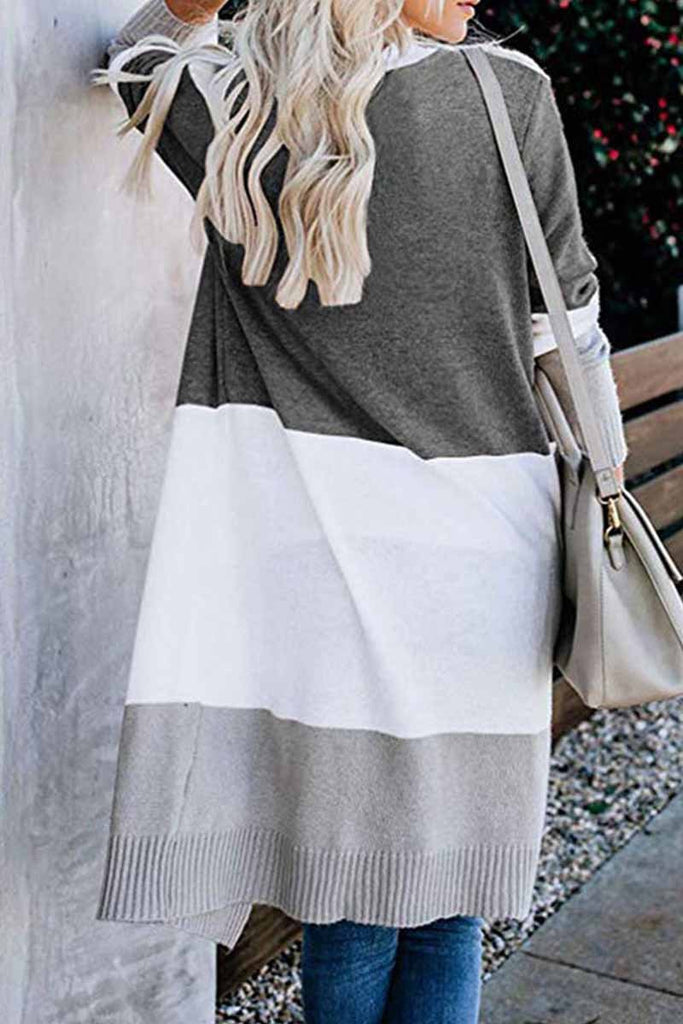 Chicindress Loose Splice Contrast  Cardigan