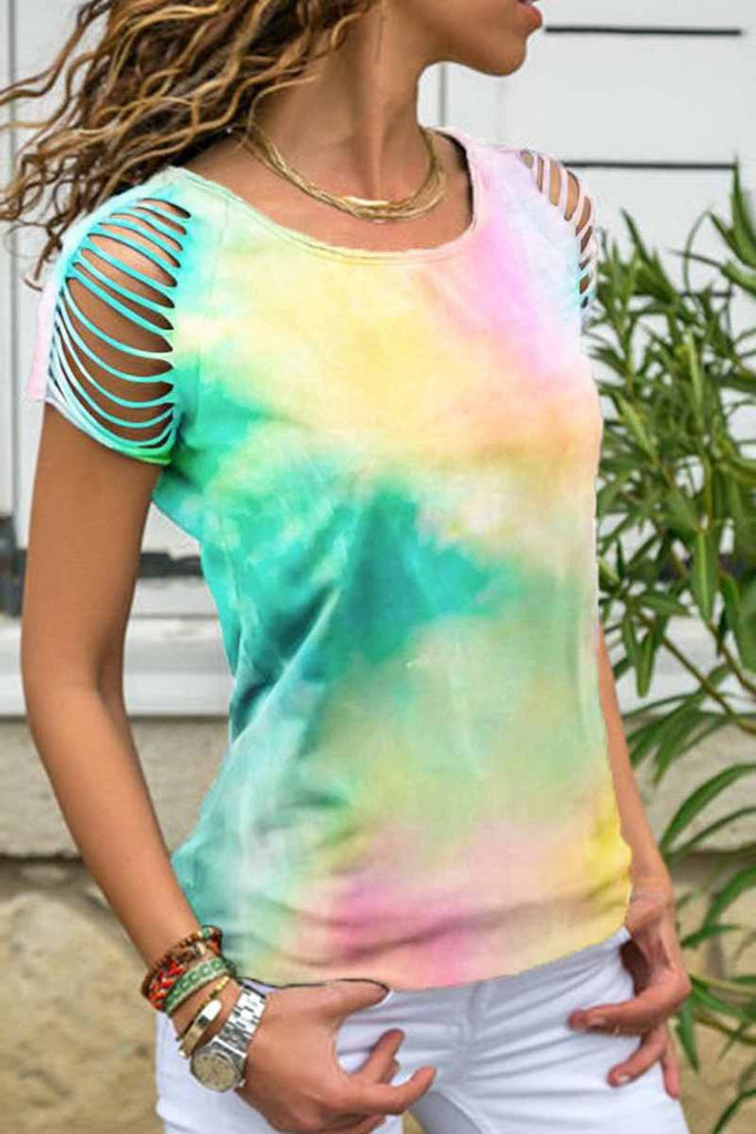 Chicindress Loose Hollow-out Tie-dye Multicolor T-shirt