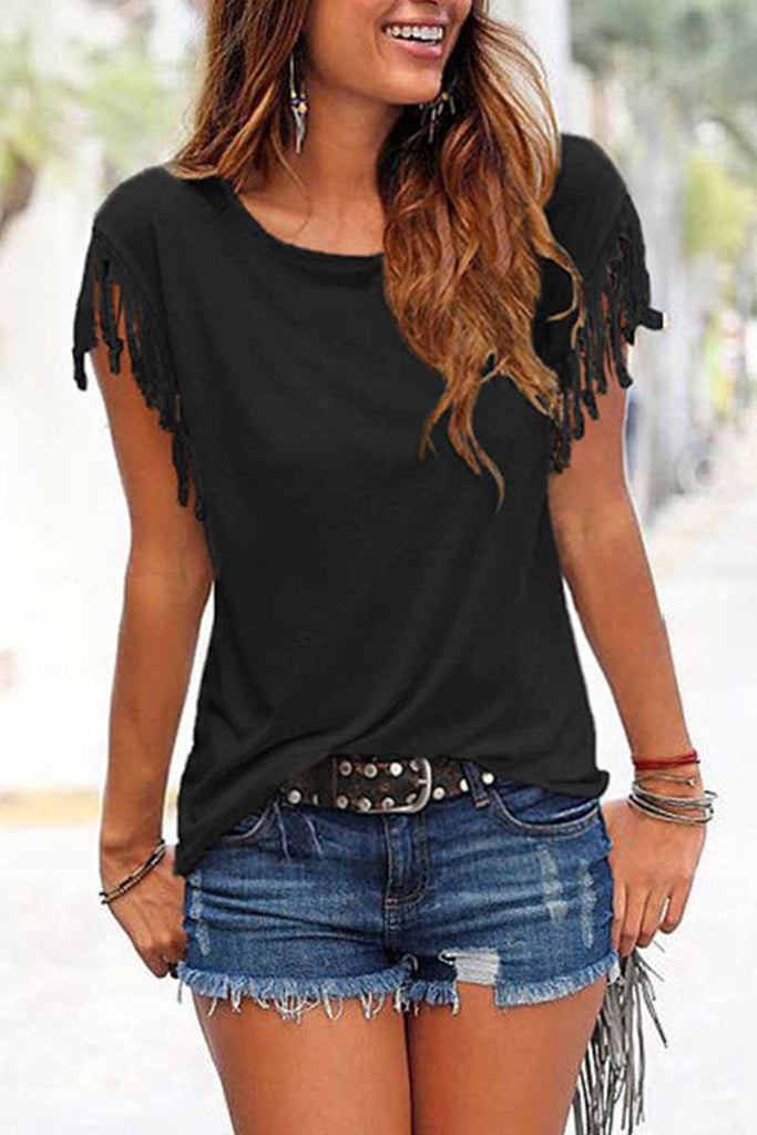 Chicindress Short-sleeve Loose Tassel T-shirt(3 Colors)