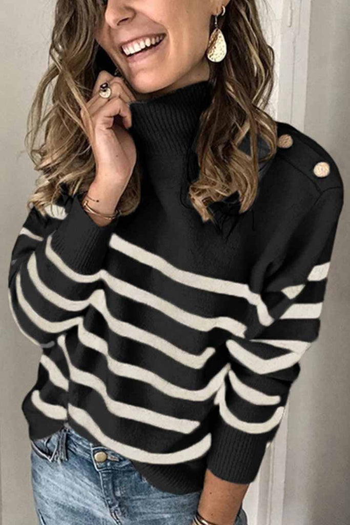 Chicindress Button Design Striped Sweater