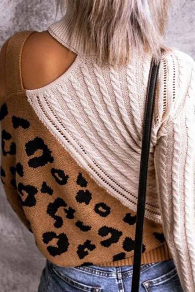 Chicindress Turtleneck Leopard Print Patchwork Cold Sweater