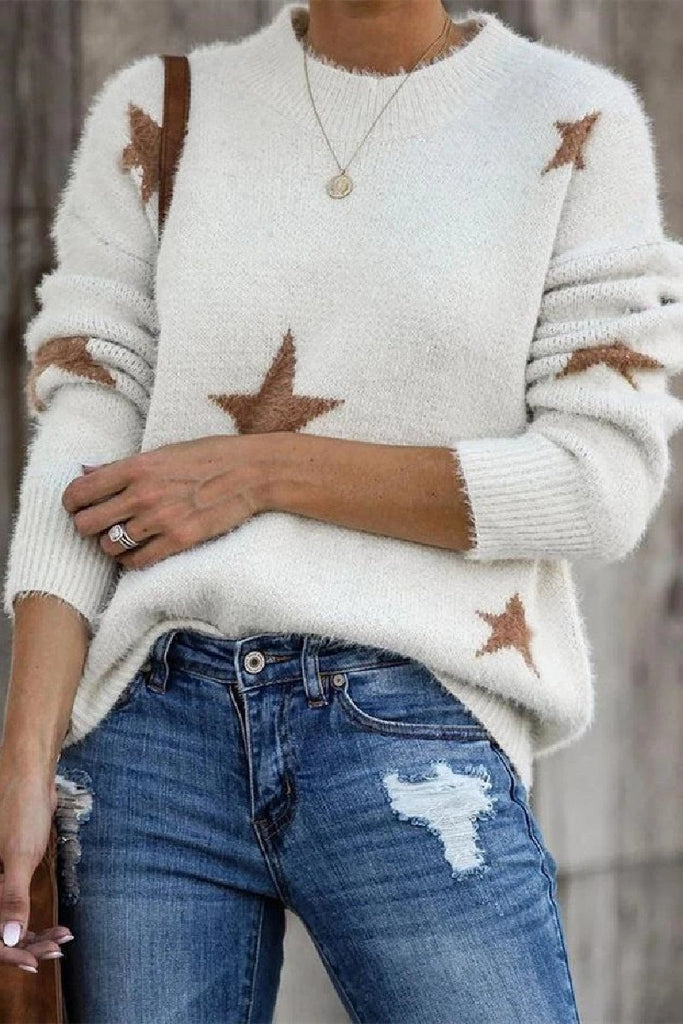 Chicindress Round Neck Loose Knit Long Sleeve Sweater