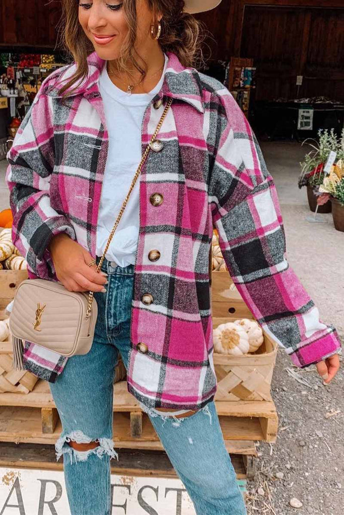 Chicindress Fashion Big Plaid Coat Woolen Coat Tops
