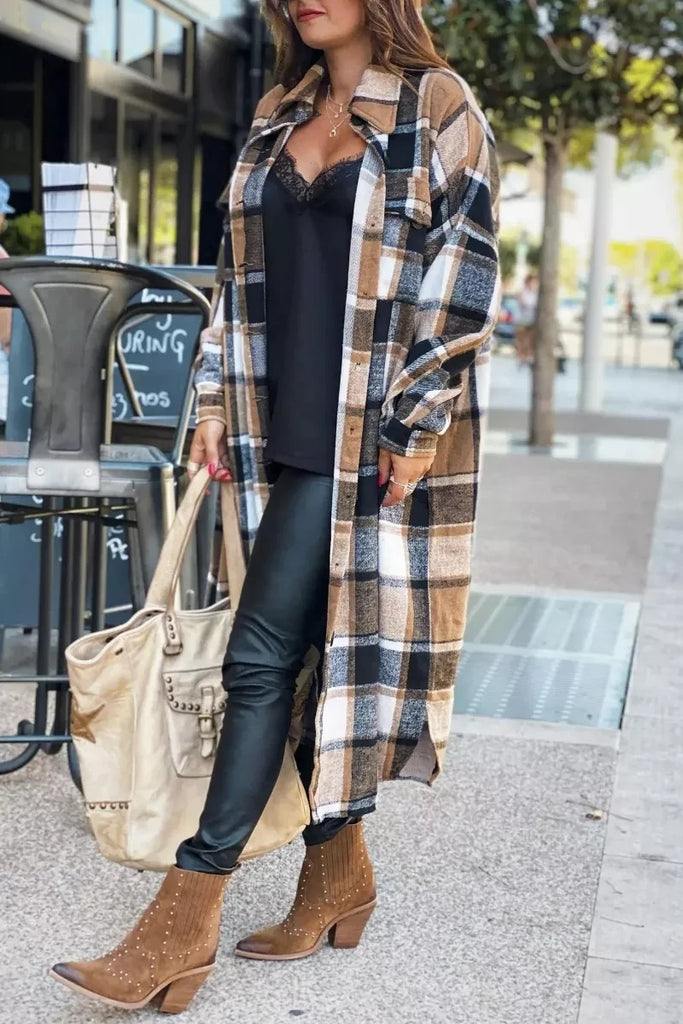 Chicindress Lapel Plaid Coat Tops