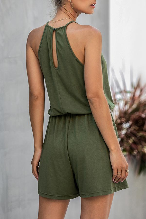 Sexy Lace Carved Halterneck Romper