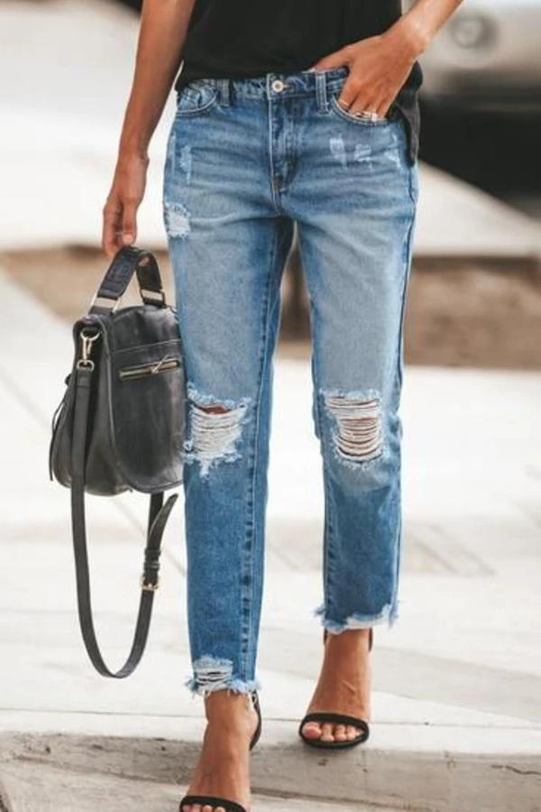 Ripped Slim Fit Washed Jeans