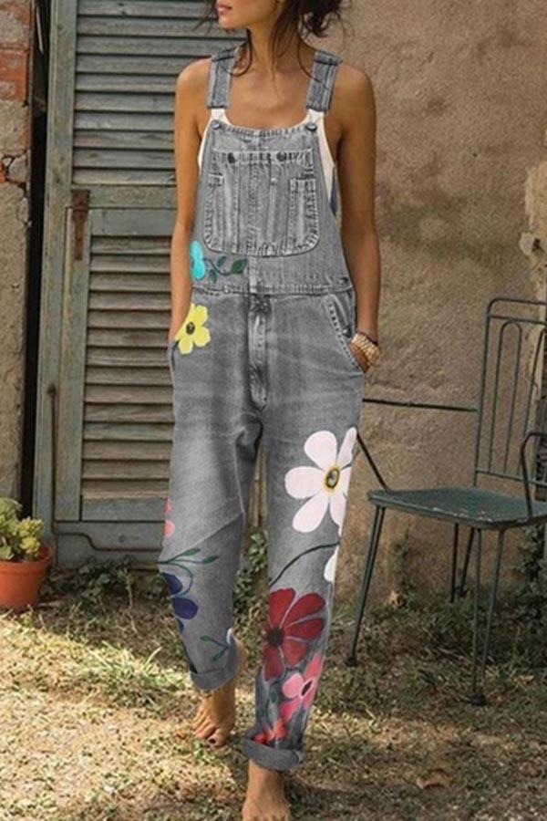 Flower-printed Baggy Jeans With Suspenders