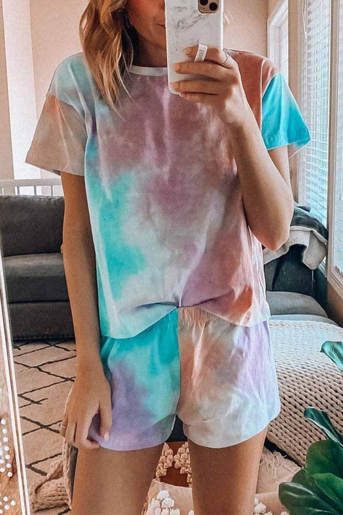 Chicindress Tie-dye Round Neck Two-Pieces Set