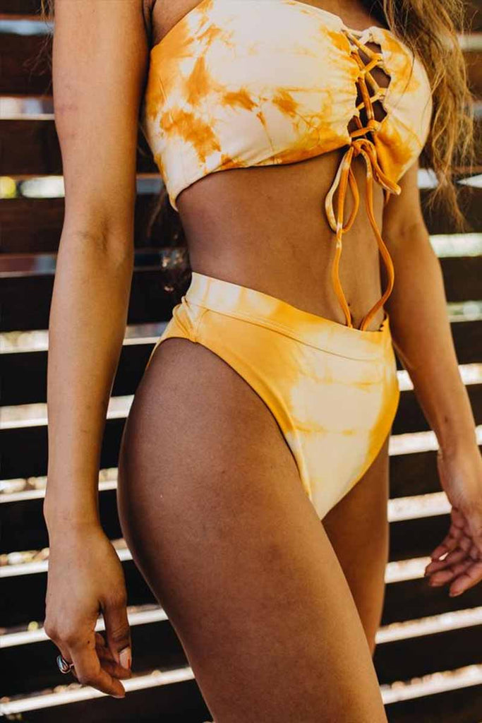 Chicindress Bandage Light Yellow Bikini Set