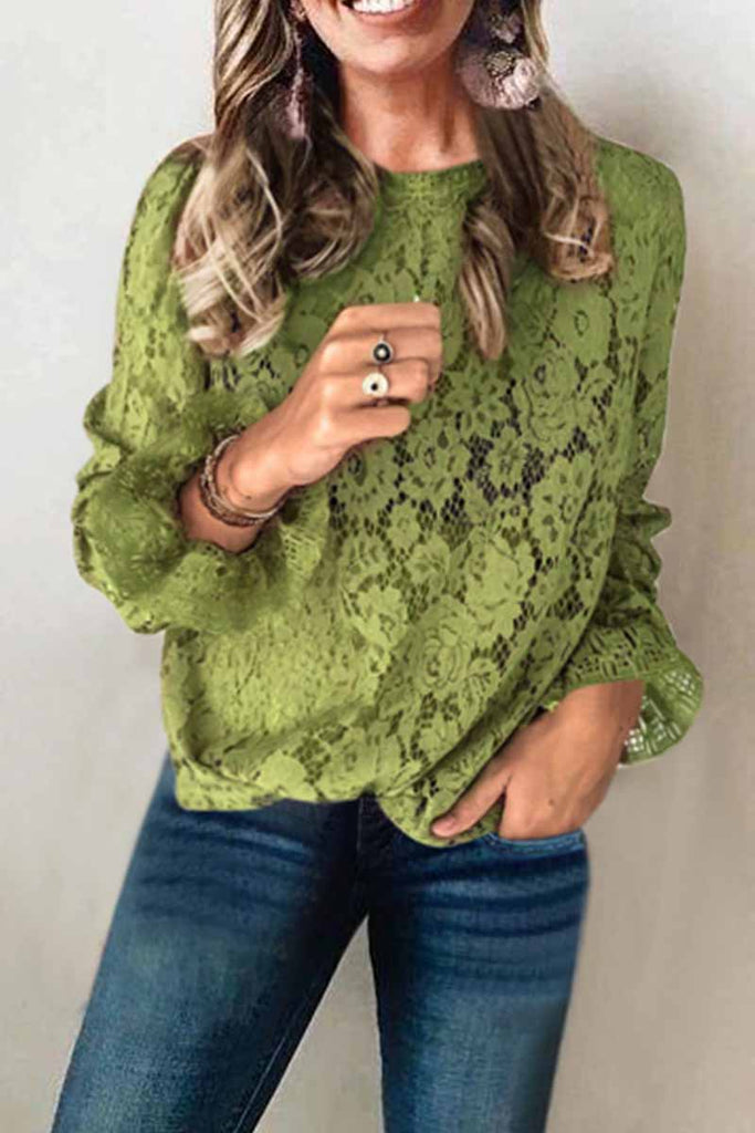 Chicindress Long Sleeve Openwork Lace Blouse