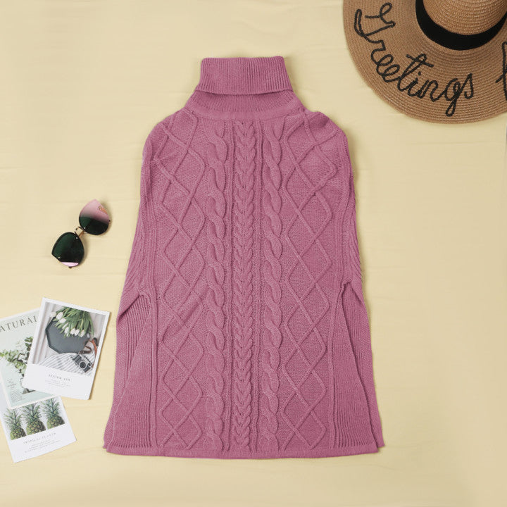 Chicindress High Neck Loose Cable Knit Pattern Stitching Sweater Tops (7 Colors)