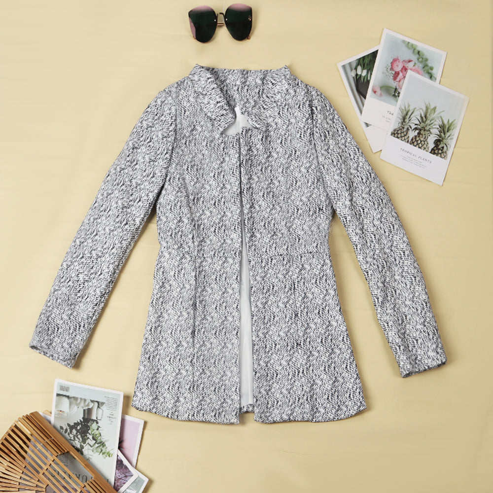 Chicindress Retro Pocketed Heather Grey Coat