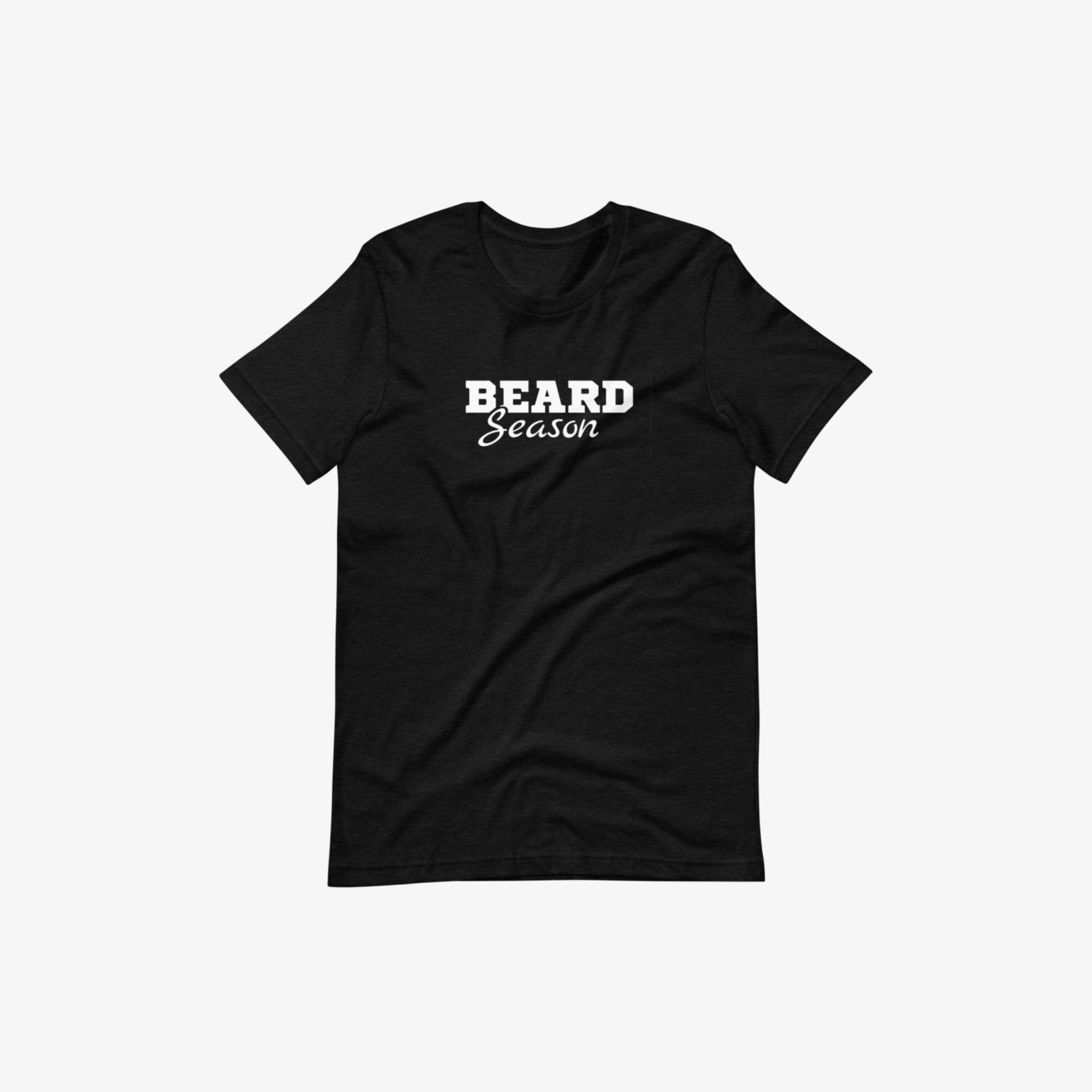 Honor's black beard season short sleeve t-shirt with a white background