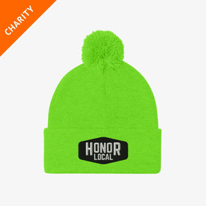 Honor x Barstool Fund beanie in green on a white background