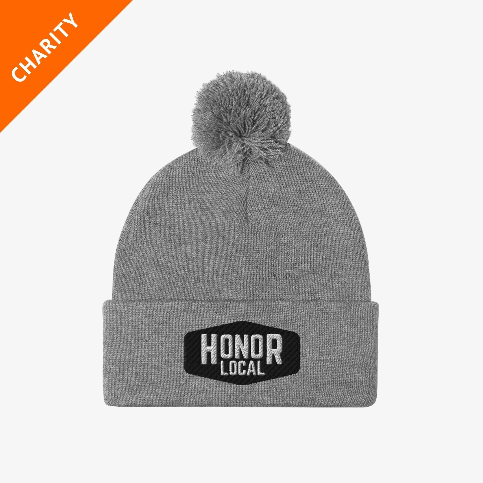 Honor x Barstool Fund beanie in grey on a white background
