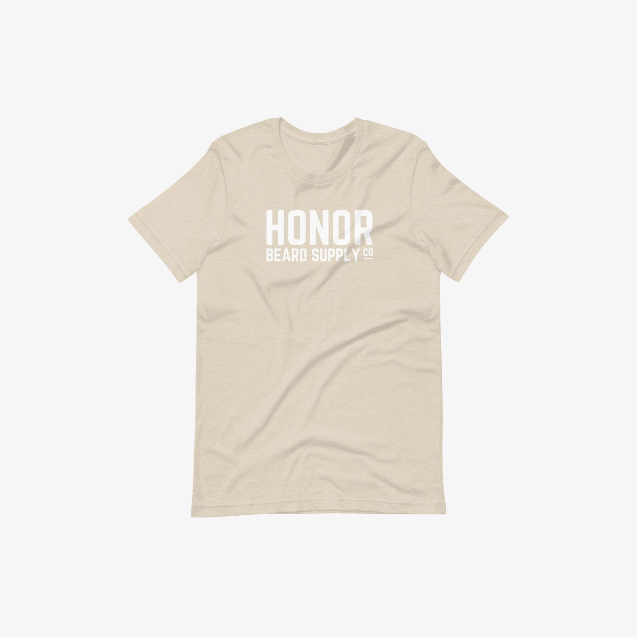 Honor's supply company tee in heather dust and on a white background