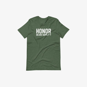 Honor's supply company tee in heather forest and on a white background