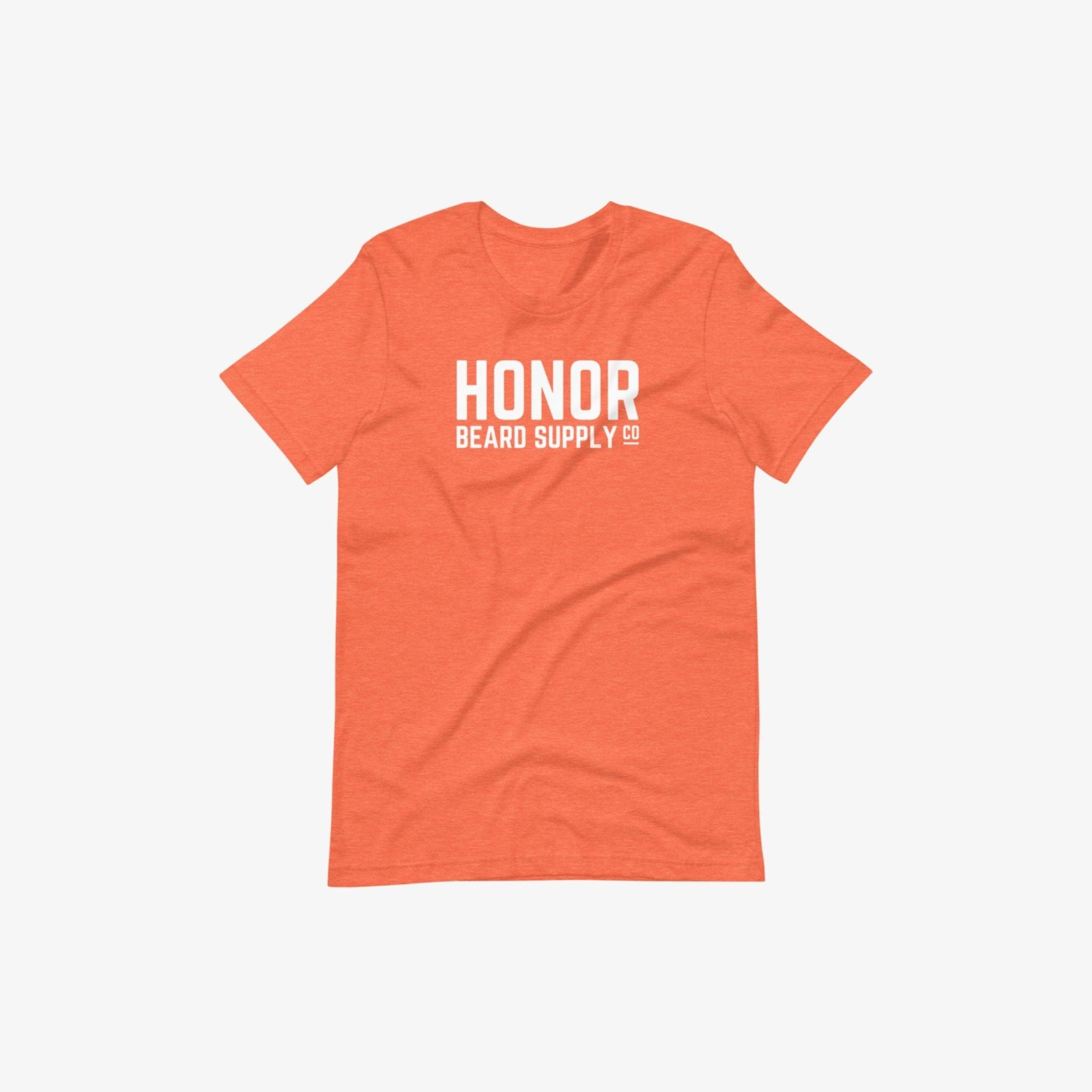 Honor's supply company tee in heather orange and on a white background
