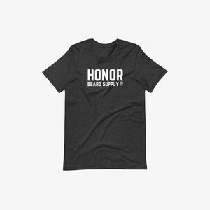 Honor's supply company tee in heather black and on a white background
