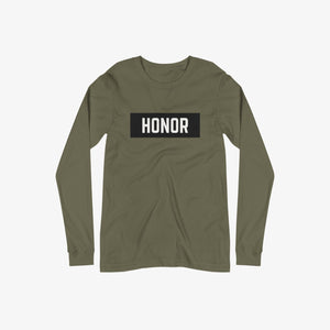 Honor block long sleeve t-shirt with black logo on a white background