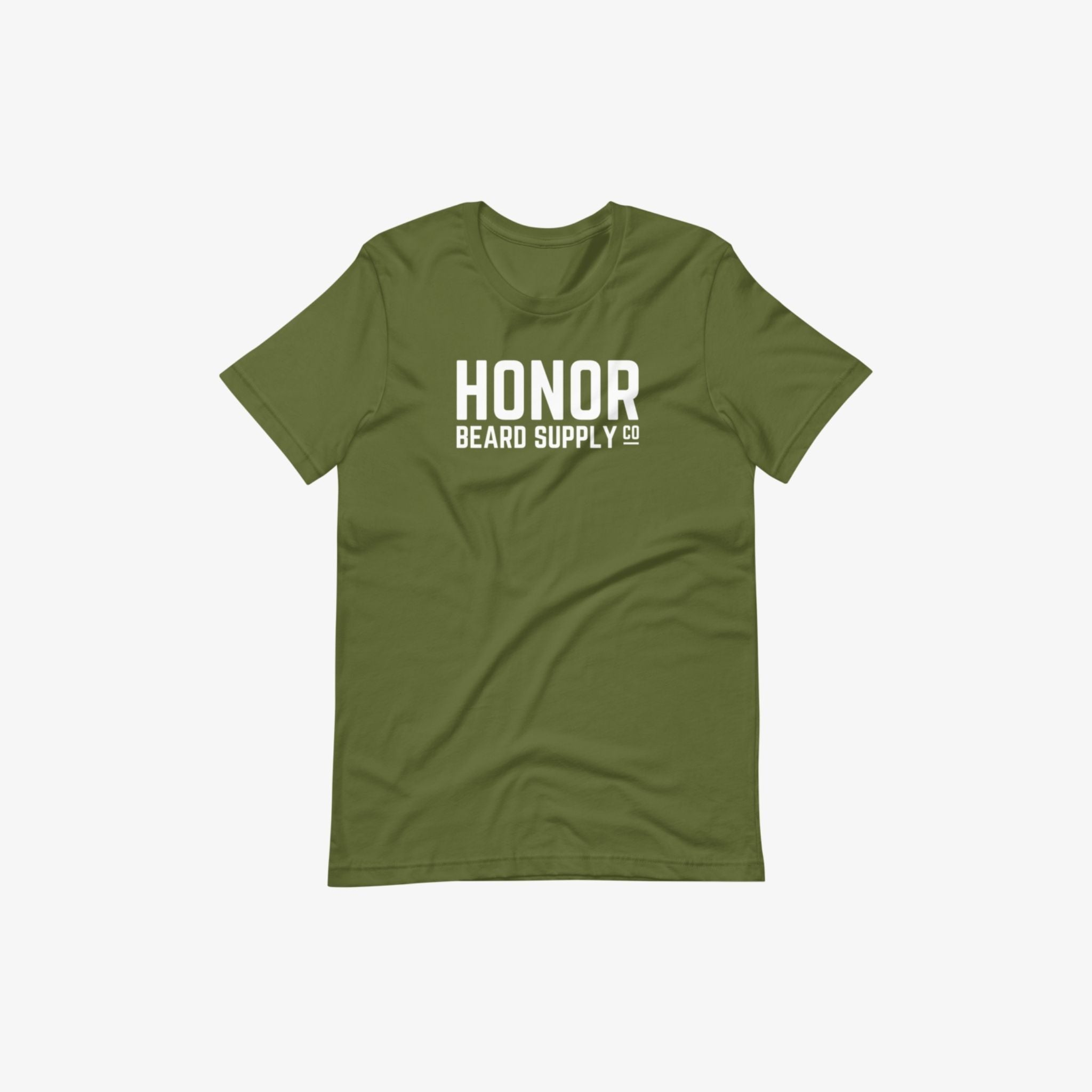 Honor's supply company tee in olive and on a white background