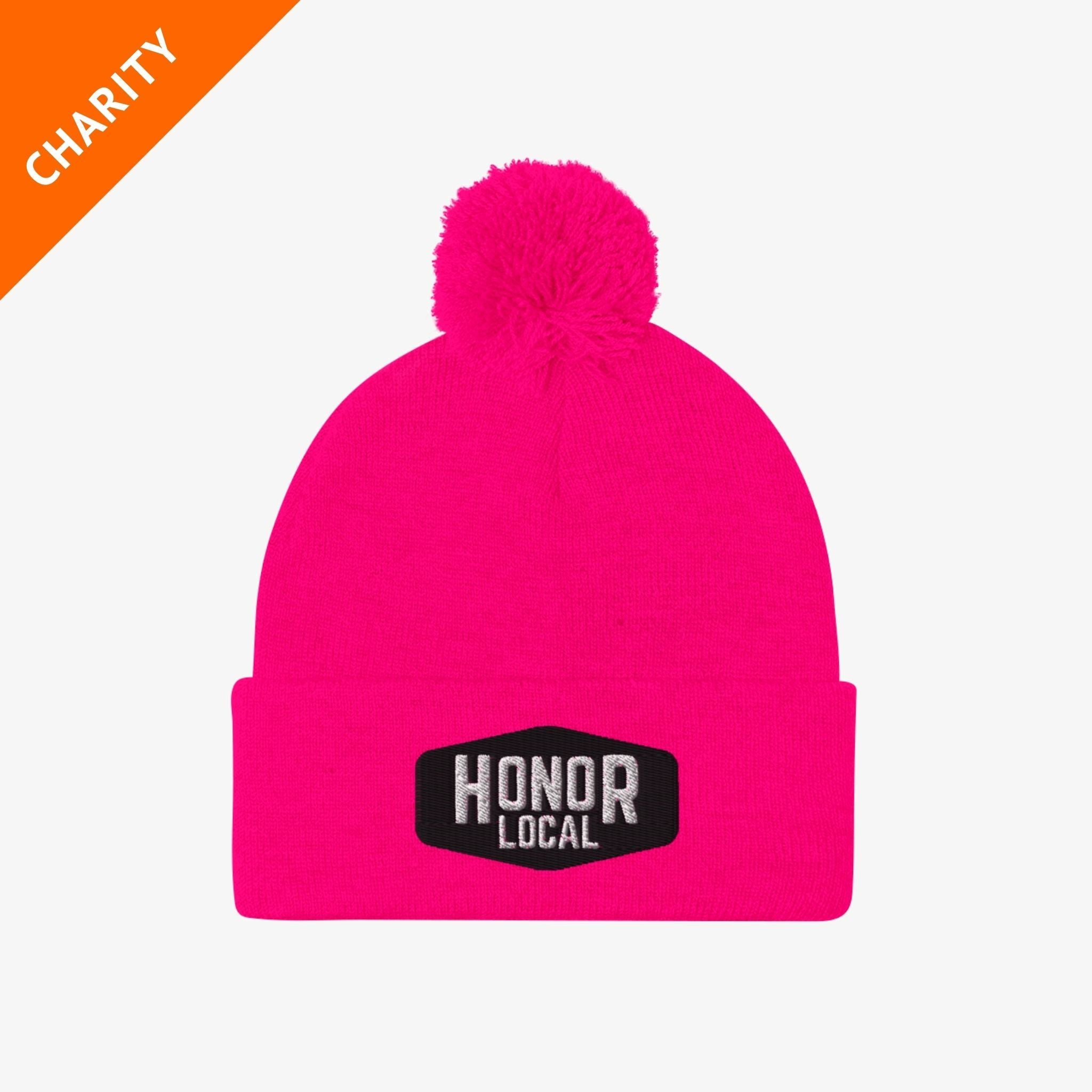 Honor x Barstool Fund beanie in pink on a white background