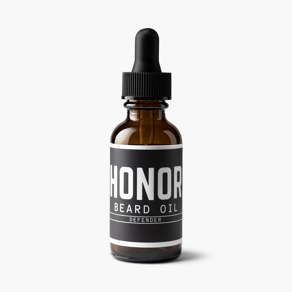 Honor's defender blend, lightweight beard oil sitting on a white background.