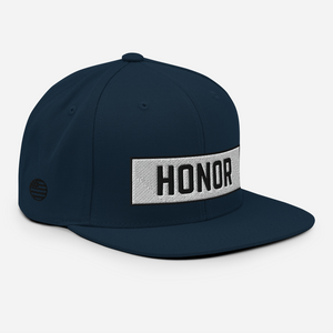 Honor Block Snapback Hat in navy on a white background