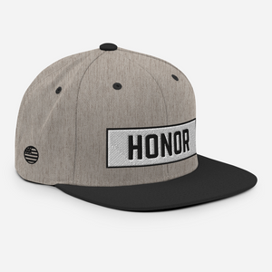 Honor Block Snapback Hat in heather and black on a white background