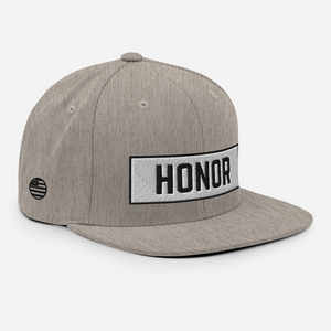 Honor Block Snapback Hat in heather on a white background