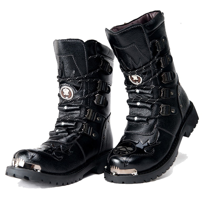 Punk Men/'s Metal Round Toe Military Boots High Top Leather Mid Cald Cowboy Boots