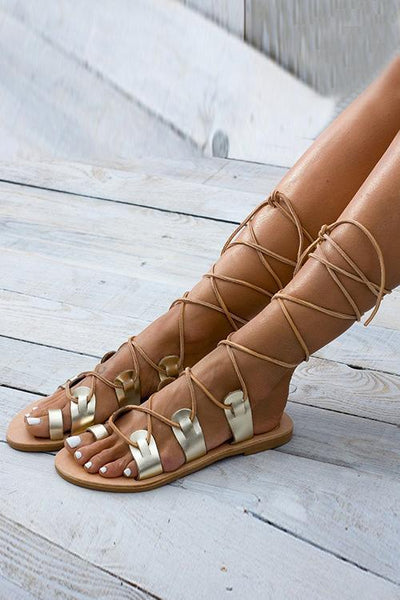 Cross Straps Hollow Gladiator Flat Sandals